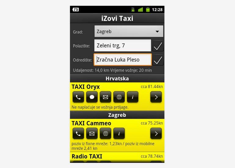 poslovnih odnosa iZovi Taxi